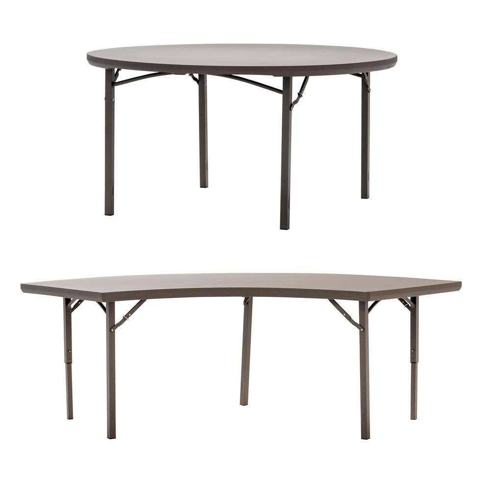places to borrow tables and chairs outdoor chair cushions with ties folding furniture the home depot 1 round commercial blow mold table 4 crescent banquet