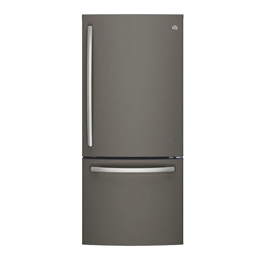 hight resolution of bottom freezer refrigerator in slate fingerprint resistant and