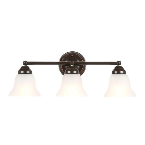 small resolution of hampton bay 3 light oil rubbed bronze vanity light with frosted glass shades