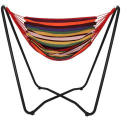 Swing Chair Drawing White Leather Swivel Desk 5 Ft Fabric Hanging Hammock With Space Saving Stand In Sunset Hh Hchas Ss Combo The Home Depot