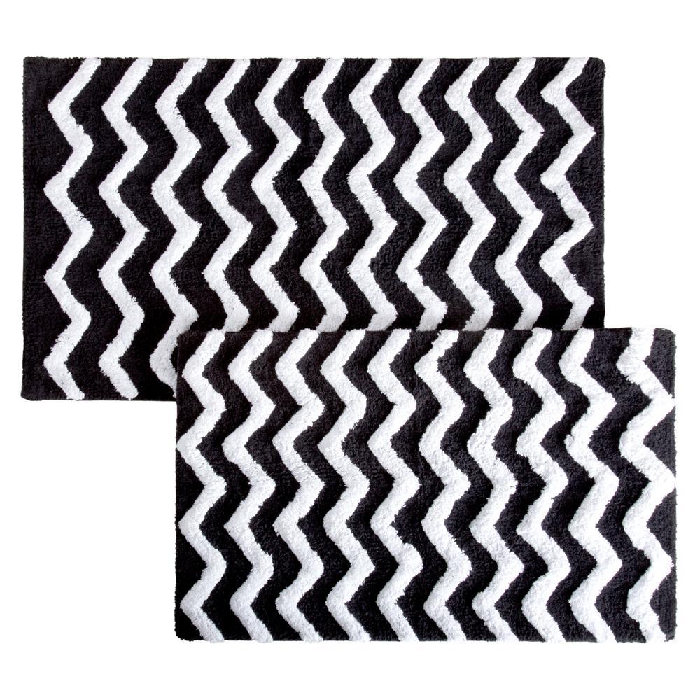 lavish home chevron black 24 5 in x 41 in 2 piece bathroom mat set 67 0025 bl the home depot