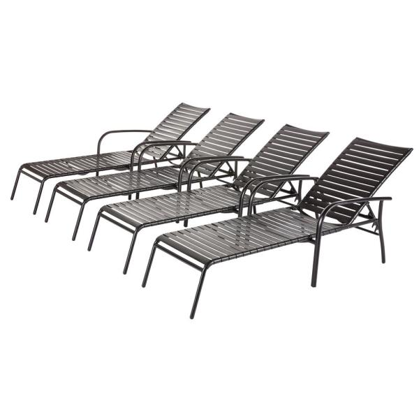 Hampton Bay Commercial Aluminum Black Strap Outdoor Chaise