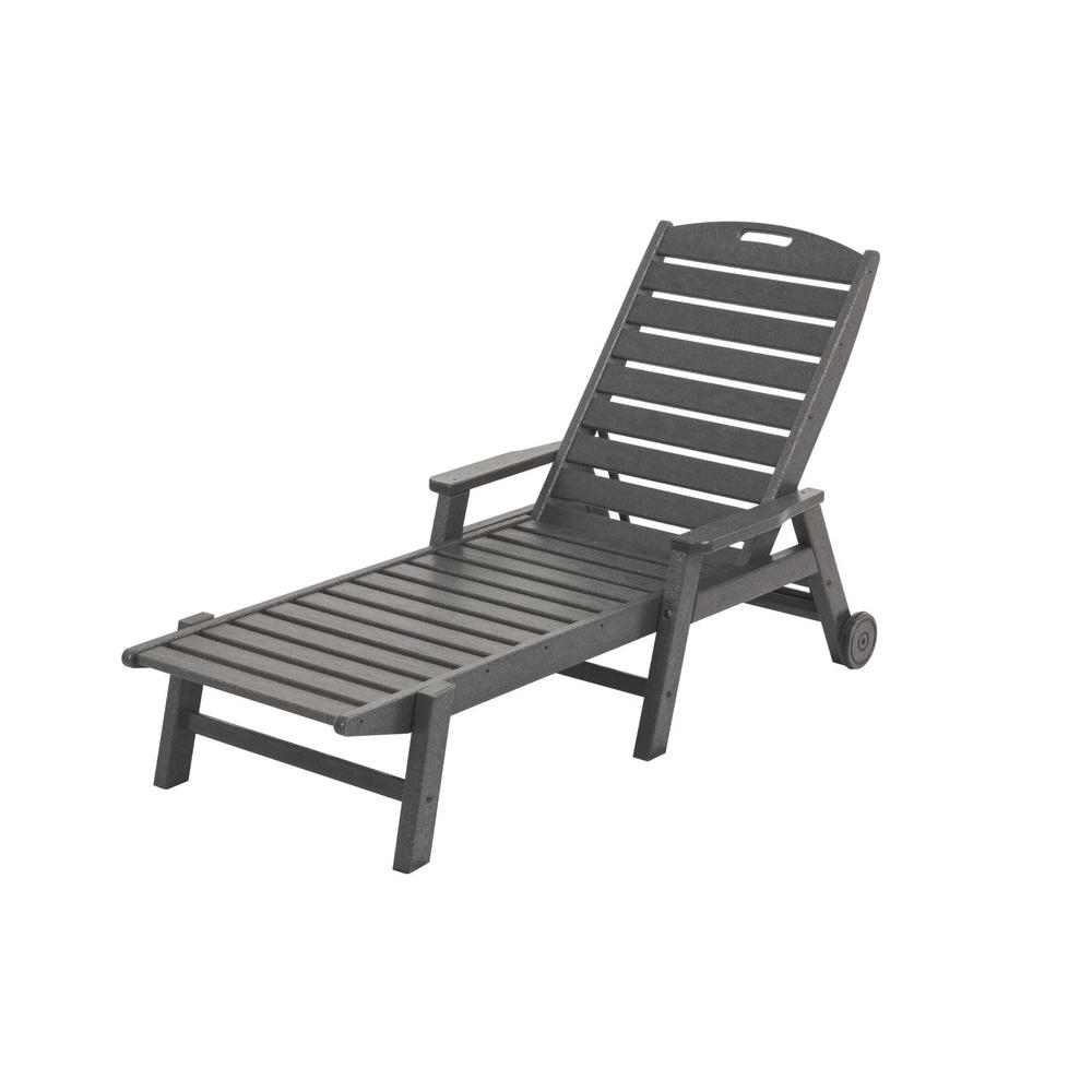 Pool Chaise Lounge Chairs Polywood Nautical Slate Grey Wheeled Plastic Outdoor Patio Chaise Lounge