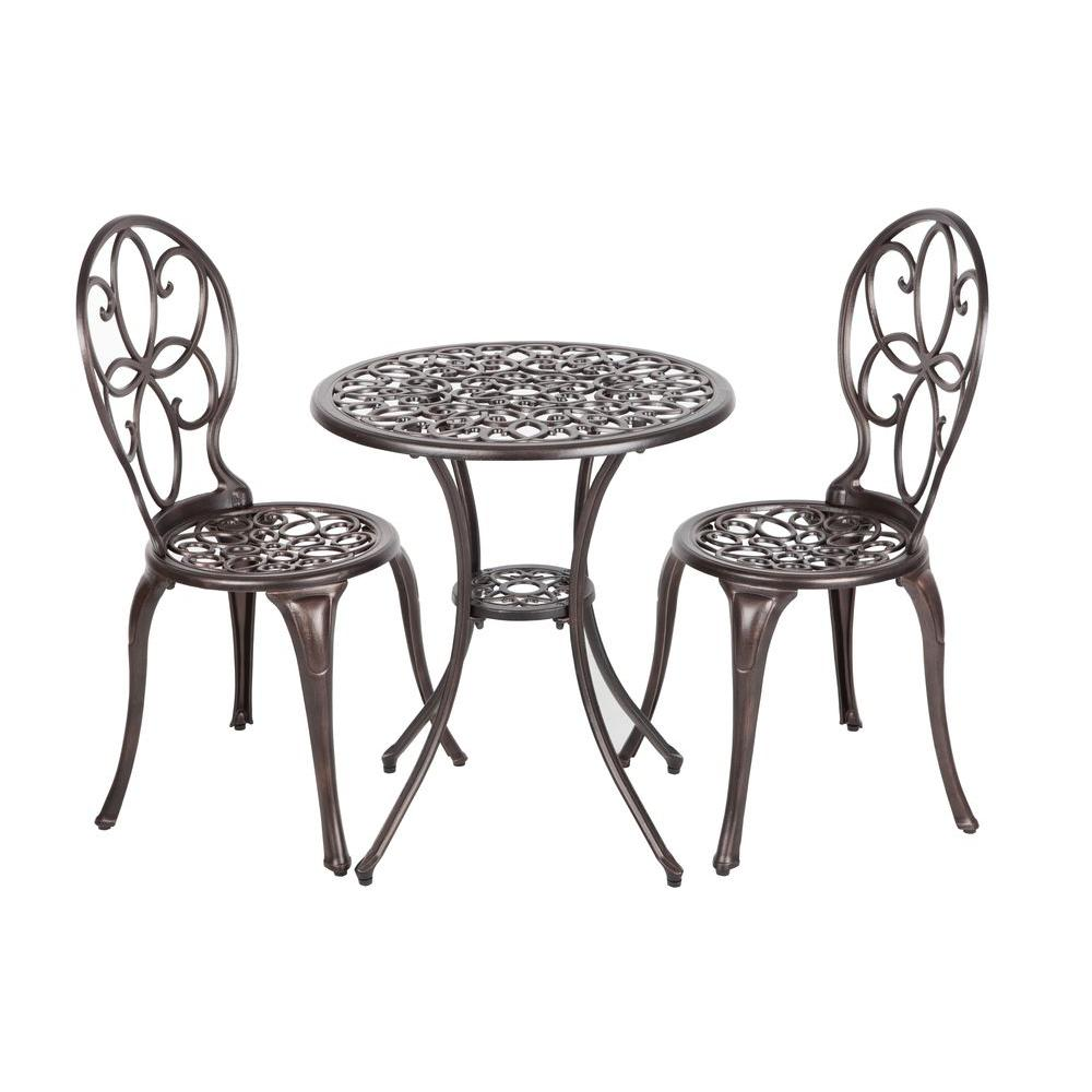 patio bistro table and chairs formal dining room tables sets furniture the home depot arria antique bronze 3 piece cast aluminum set