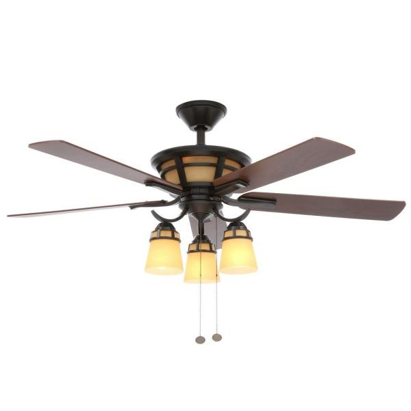 Hampton Bay Alicante 52 In. Indoor Natural Iron Ceiling Fan With Light Kit-58004 - Home Depot