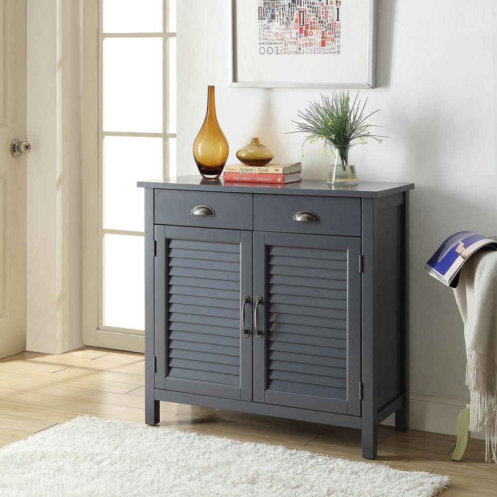 USL Olivia 2Drawers Grey Accent Cabinet 2Shutter Doors