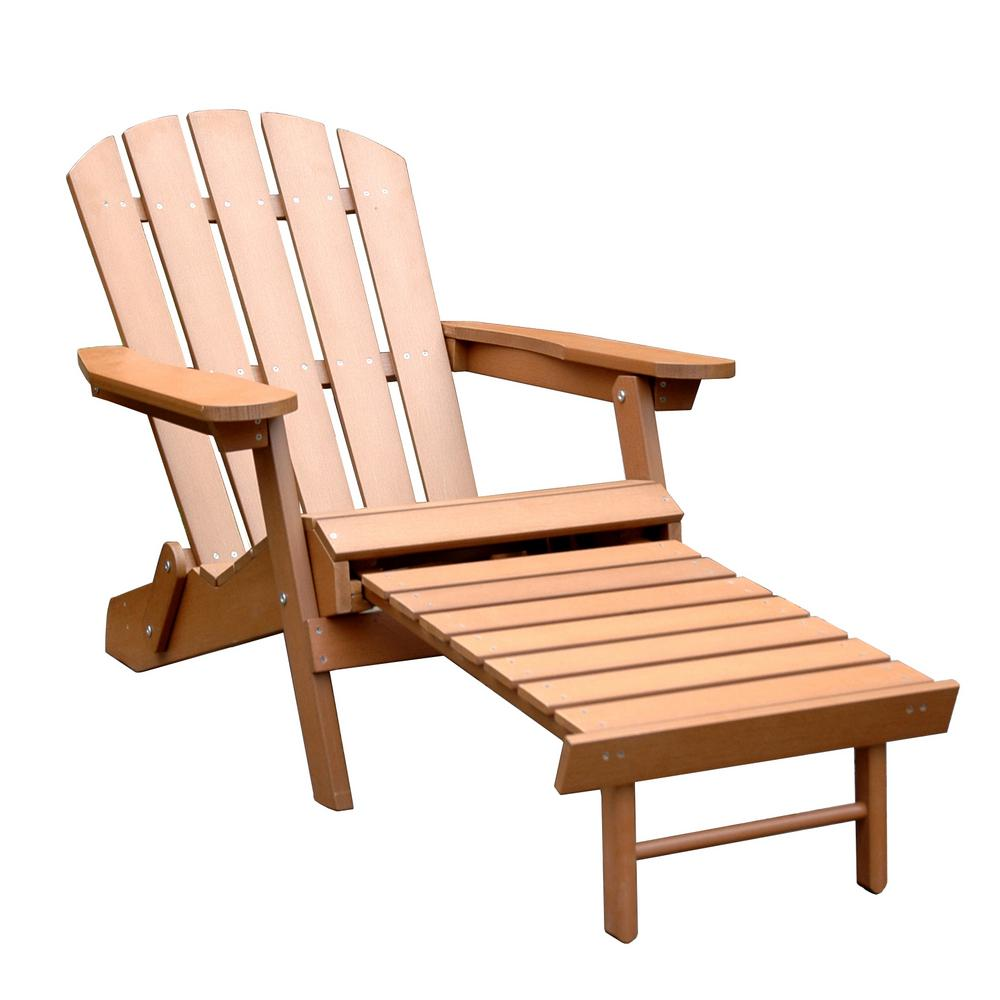 pull out chairs handicapped shower chair brown faux wood adirondack with pullout ottoman adc0111100910 the home depot