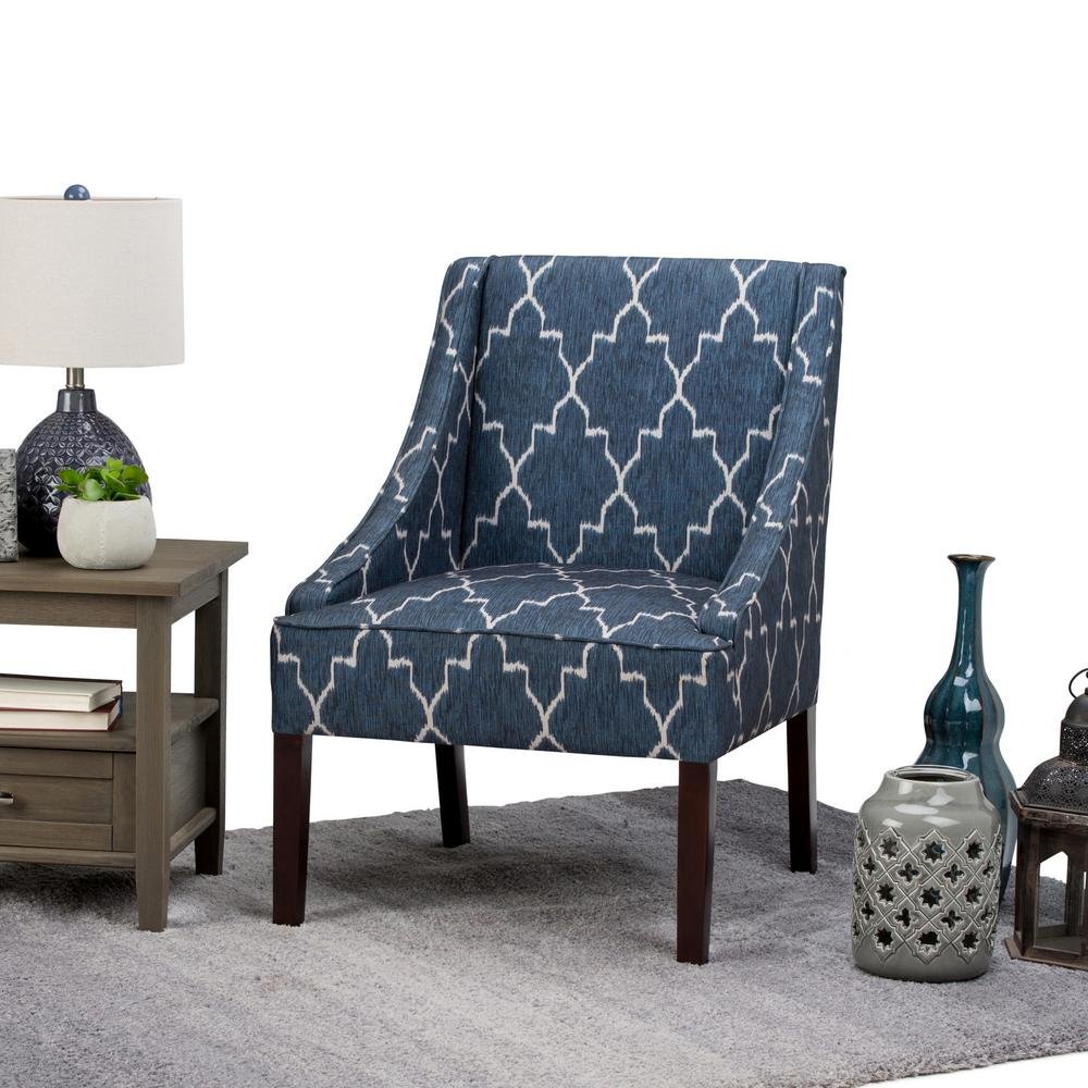 Blue Patterned Chair Simpli Home Hayworth 25 In Wide Transitional Accent Arm Chair In