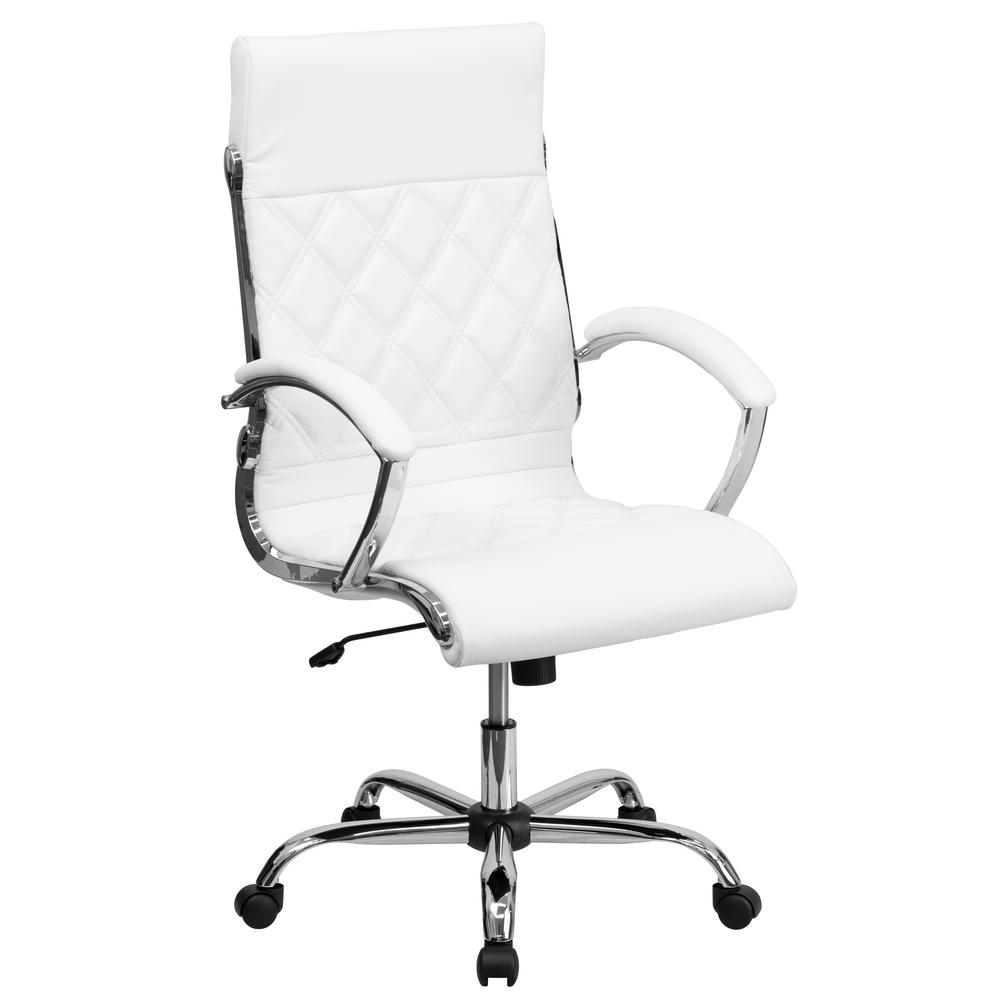 white leather swivel desk chair value city furniture chairs flash high back designer executive office with chrome base