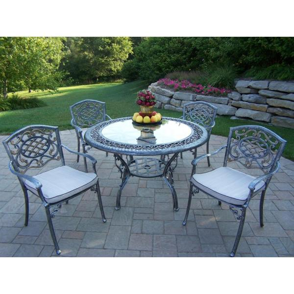 Hanover Traditions 5-piece Patio Outdoor Dining Set With 4-cast Aluminum Chairs And 48 In