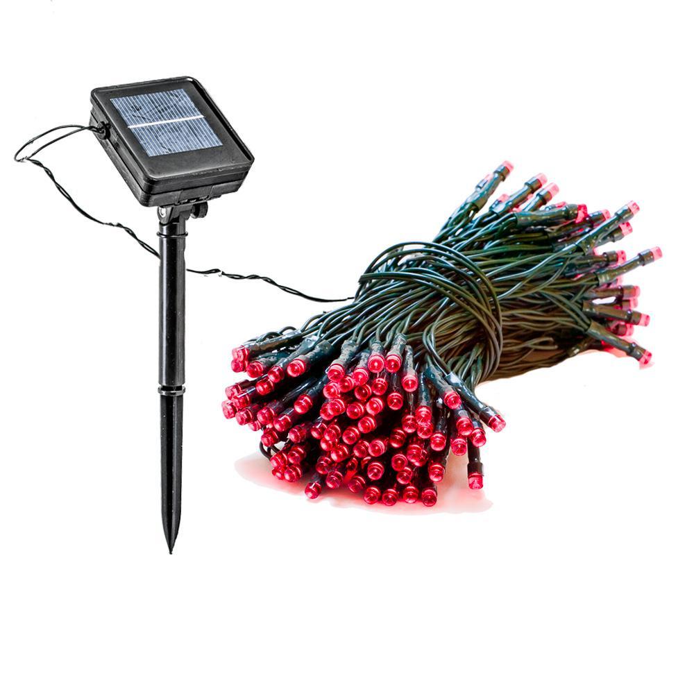 Reusable Revolution 150 Light 55 ft Solar Powered Integrated LED Red Christmas Outdoor String