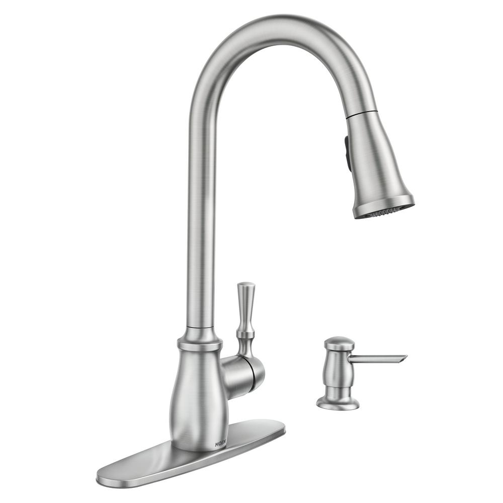 moen pull down kitchen faucet ideas pictures faucets the home depot fieldstone single handle sprayer