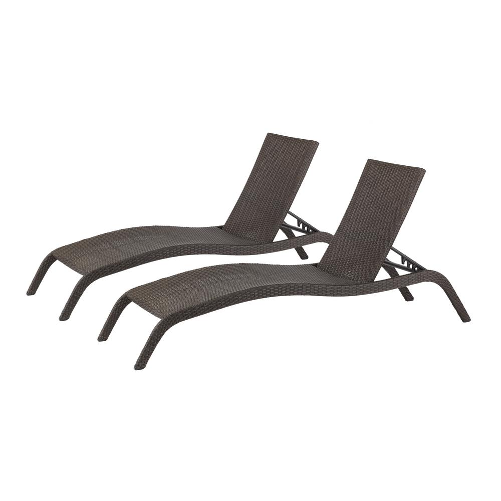 Hampton Bay Tacana Wicker Outdoor Chaise Lounge 2Pack