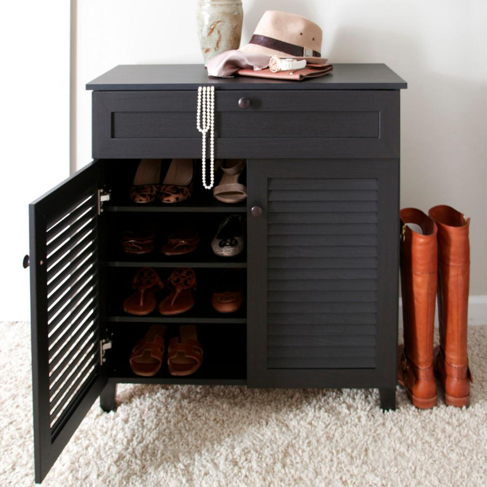 Baxton Studio Calvin Wood Shoe Storage Cabinet in Dark