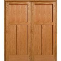 MMI Door 73.5 in. x 81.75 in. Unfinished Red Oak 3-Panel ...