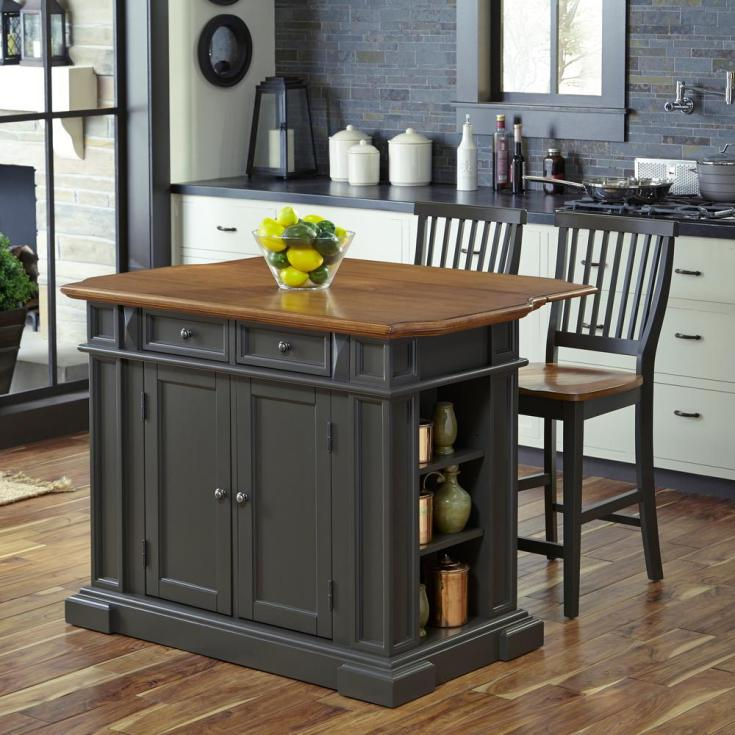 home styles americana grey kitchen island with seating-5013-948
