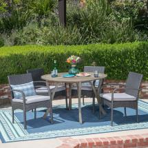 Noble House Chilton Gray 5-piece Wood And Wicker Outdoor