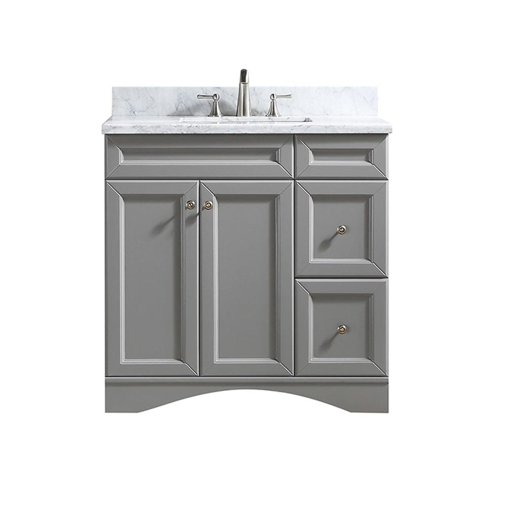Boyel Living 36 In W X 22 In D X 35 In H Single White Sink Vanity With White Carrara Marble Top Gray Ms 30036 Gr 1 The Home Depot