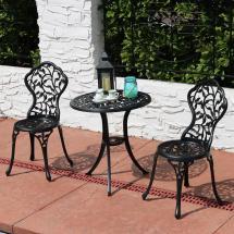 Sunnydaze Decor Black 3-piece Cast Aluminum Outdoor Bistro