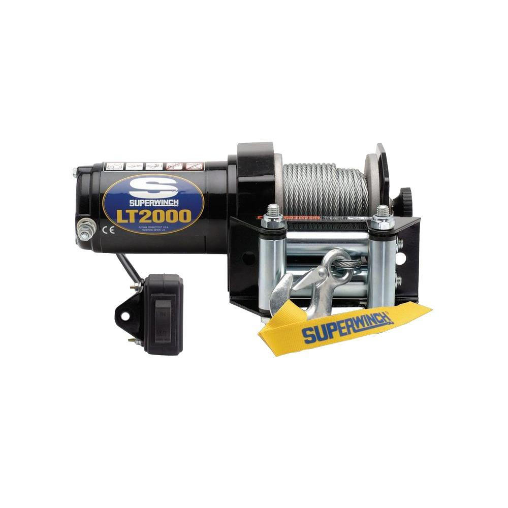 hight resolution of superwinch lt2000 12 volt dc atv winch with 4 way roller fairlead and rocker