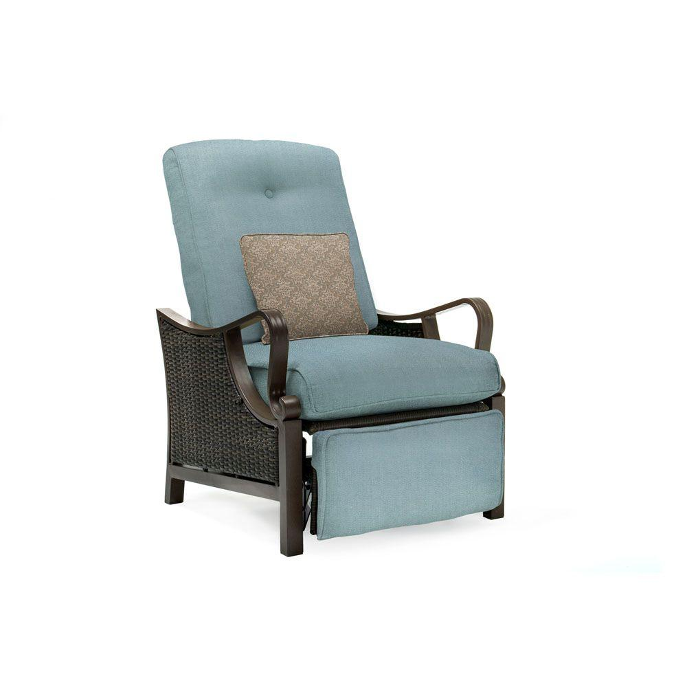 wicker recliner chair reupholster leather hanover ventura all weather reclining patio lounge with ocean blue cushion