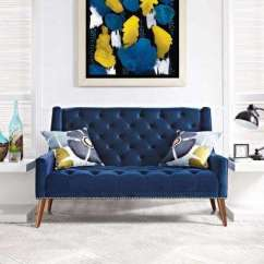 Living Room Loveseats Accent Wall With Brown Furniture Navy Sofas The Home Depot Peruse Velvet Loveseat