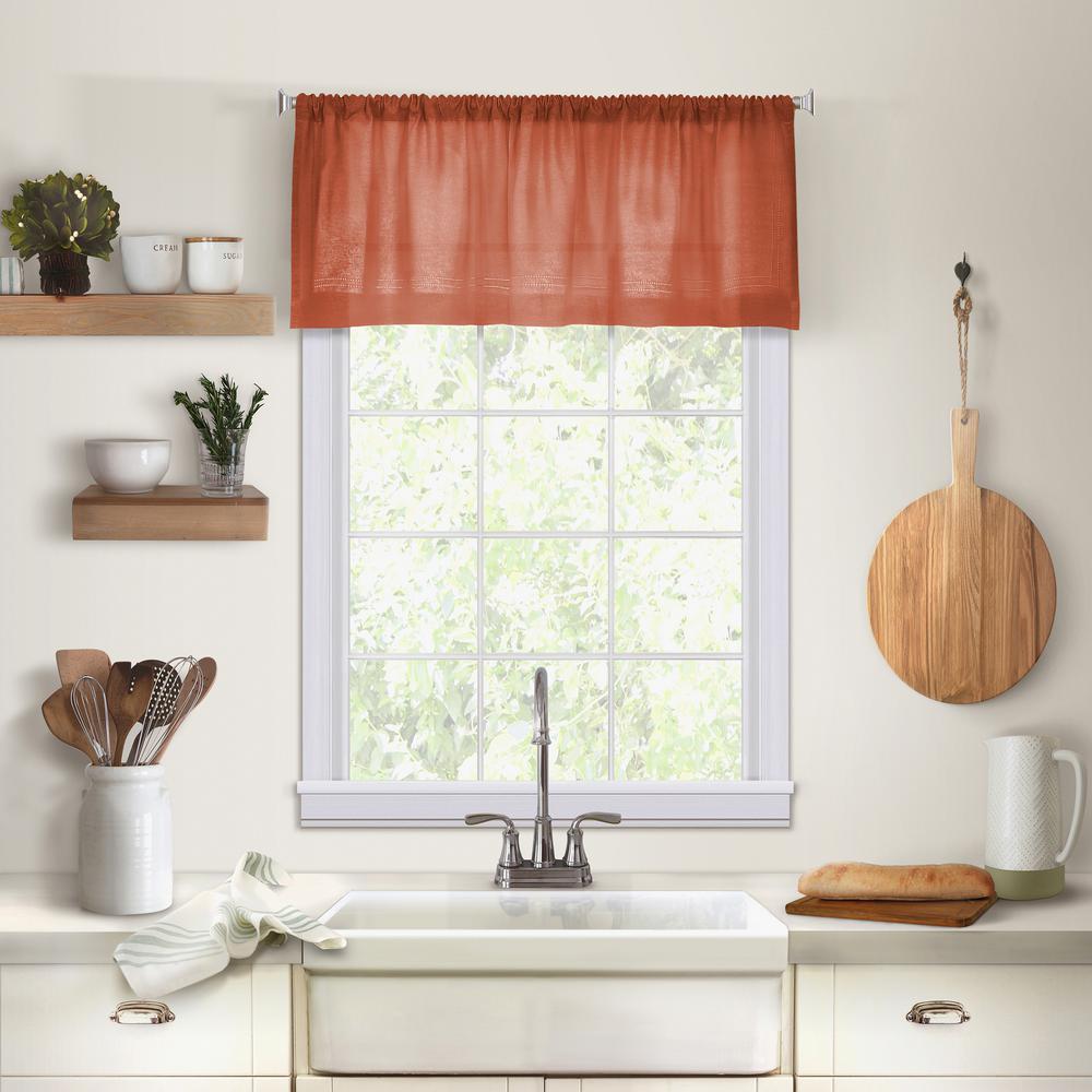 valances for kitchen orange appliances elrene cameron single window valance in spice 60 w x 15 l