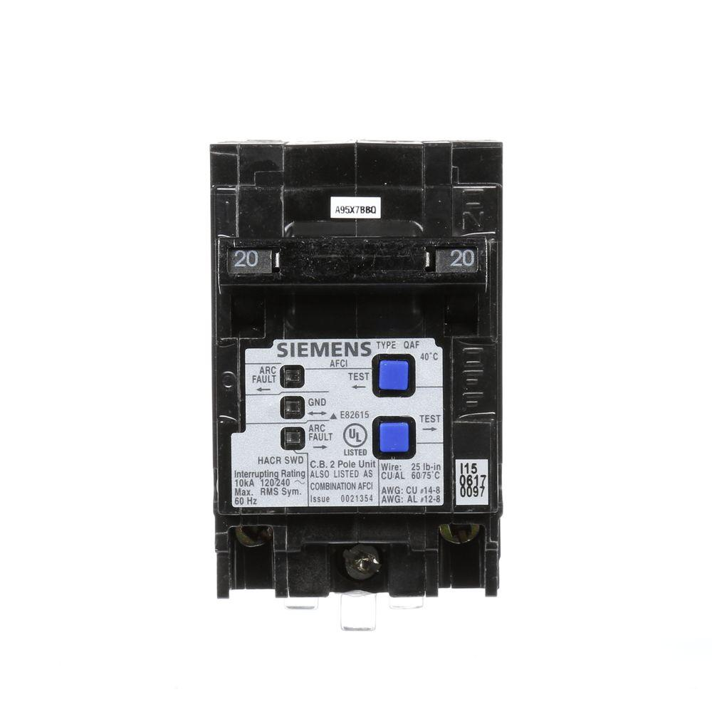 medium resolution of siemens type qaf 20 amp double pole combination afci circuit breaker
