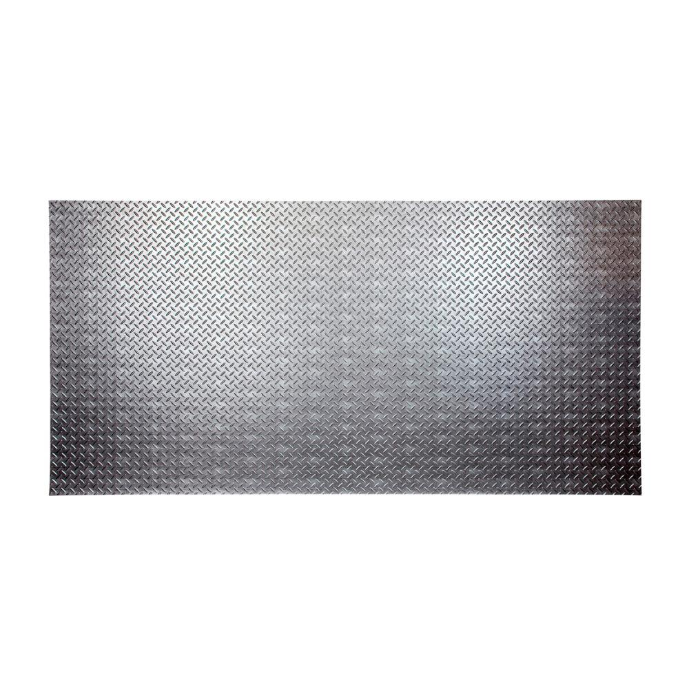 Fasade Diamond Plate 96 in. x 48 in. Crosshatch Silver