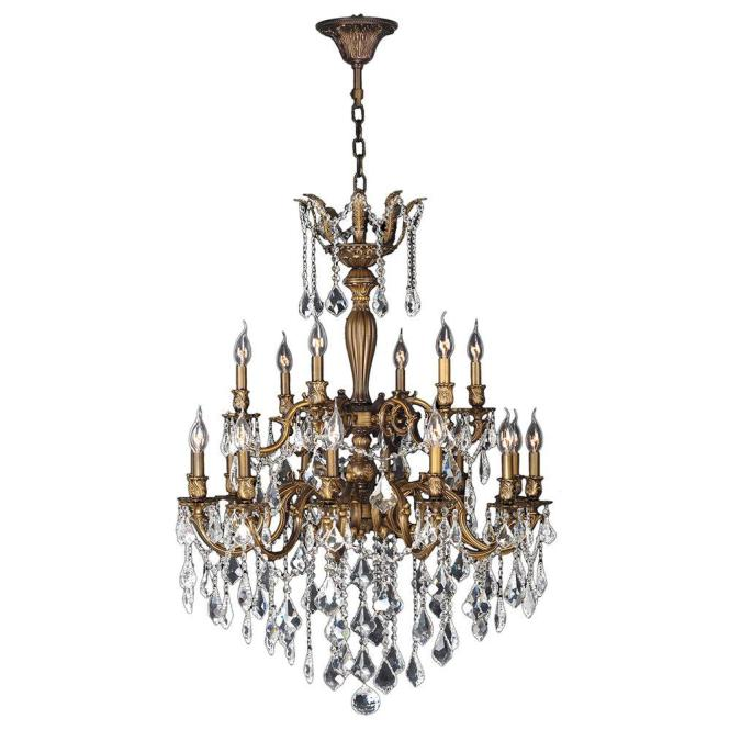 Worldwide Lighting Versailles 18 Light Antique Bronze Crystal Chandelier