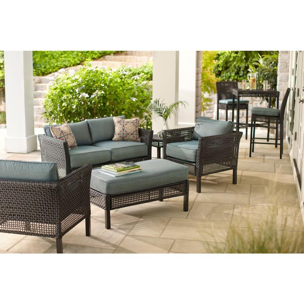 Wicker Patio Chair Hampton Bay Fenton 4 Piece Wicker Outdoor Patio Seating Set With Peacock Java Patio Cushion