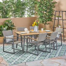 Noble House Leeds Gray 7-piece Aluminum And Wicker Outdoor