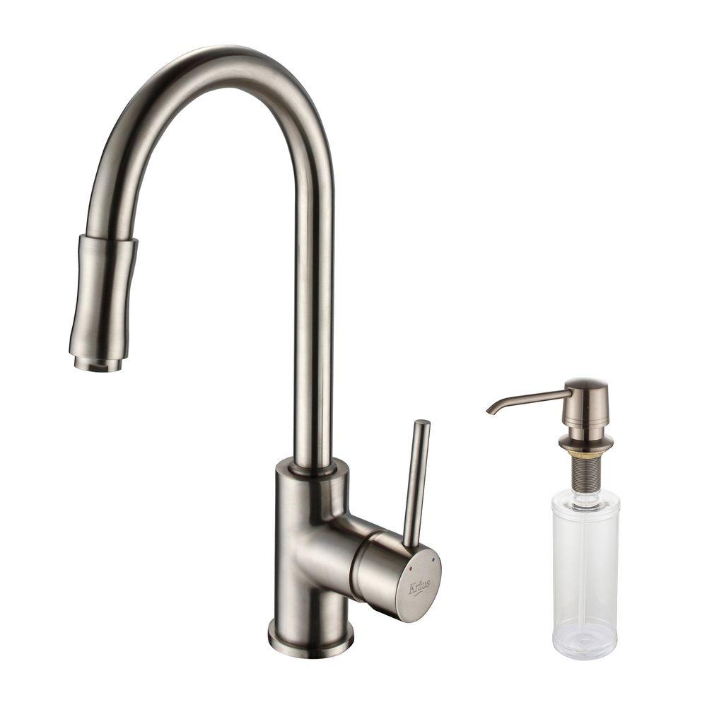 kraus kitchen faucet frigidaire package single handle pull down with soap dispenser in satin nickel