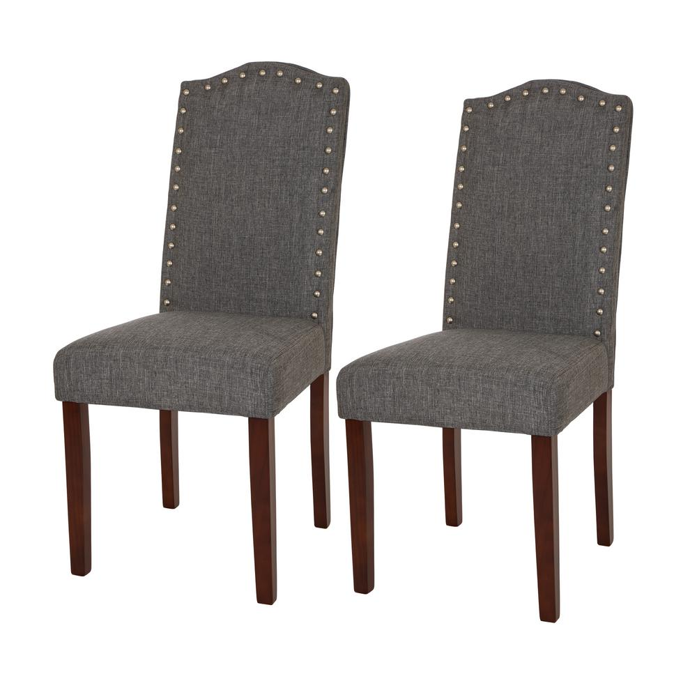 gray dining chair reupholster a seat glitzhome upholstered with studded decoration set of 2