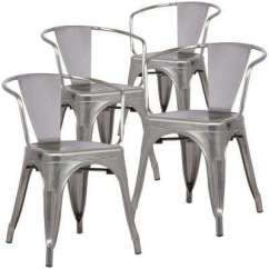 Silver Metal Dining Chairs Chamber Pot Chair Kitchen Room Furniture Cantina Polished Gunmetal Arm Set Of 4