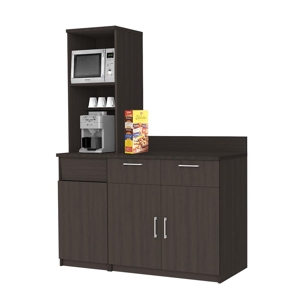 kitchen sideboards dark floors breaktime coffee espresso sideboard with practical lunch break room functionality fully assembled commercial grade 3709 the home depot