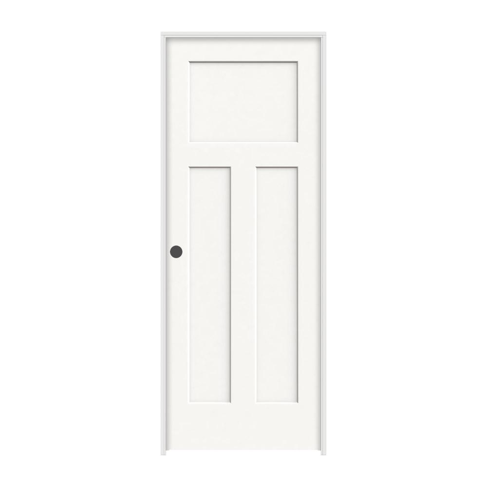 JELD-WEN 28 in. x 80 in. Craftsman White Painted Right