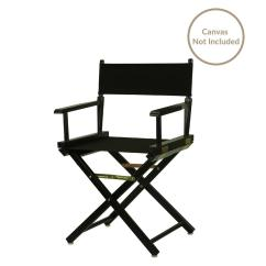 Directors Chair White Covers Dark Grey 18 In Director S Black Solid Wood Frame 200 02 The Home Depot