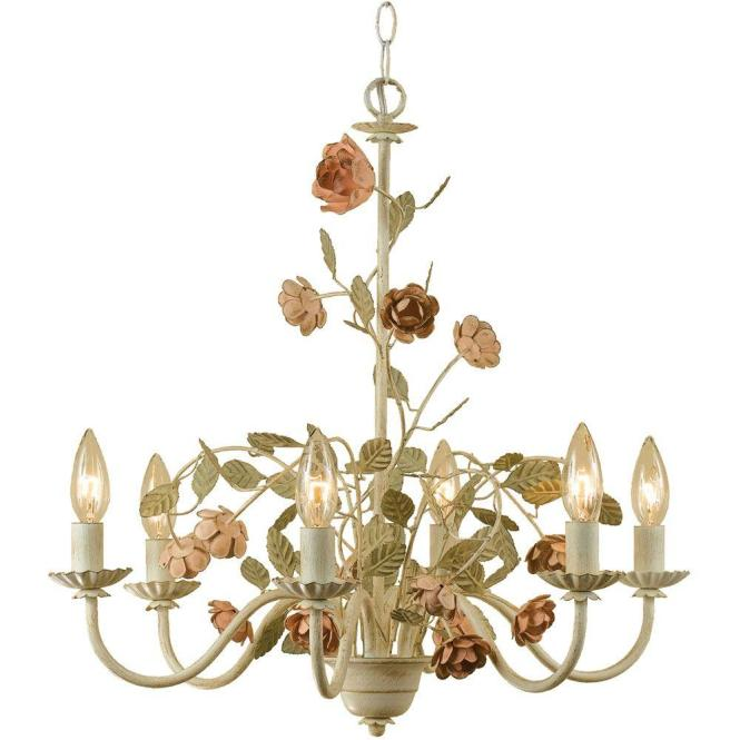 Af Lighting Ramblin Rose 6 Light Antique Cream Chandelier With Fl Accents