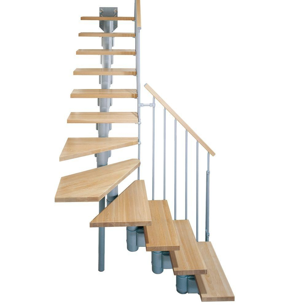 Arke Kompact 29 In Grey Modular Staircase L Kit K35003 The   Spiral Staircase Home Depot   Steel   90 Degree   Alternating Tread   Outdoor   Small Metal