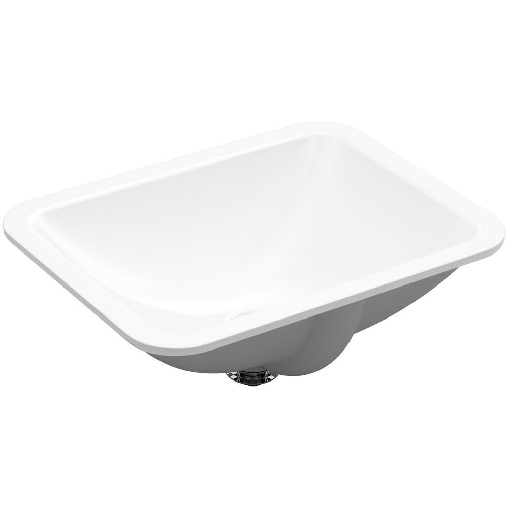 KOHLER Caxton Rectangle Under Mount Bathroom Sink in White