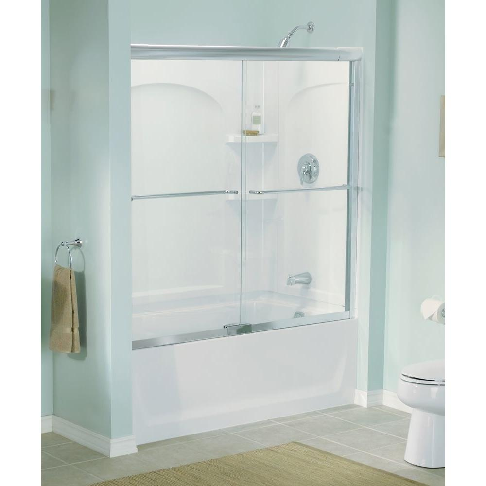 STERLING Finesse 57 in x 5534 in SemiFrameless Sliding Shower Door in Silver with Handle