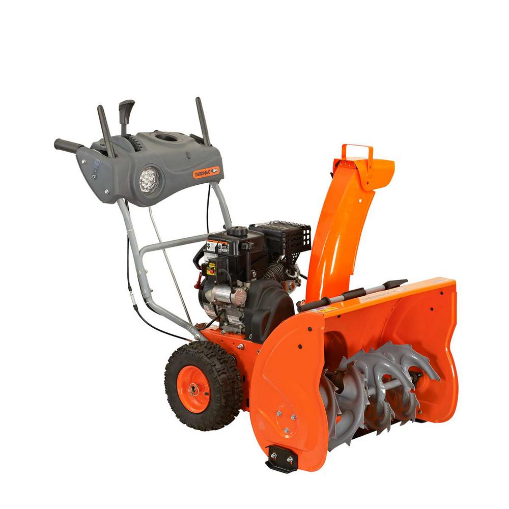 hight resolution of two stage electric start gas snow blower with headlight