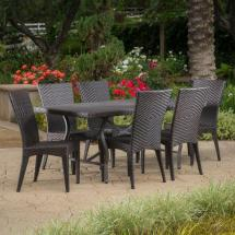 Noble House Dudley Multi-brown 7-piece Wicker Outdoor