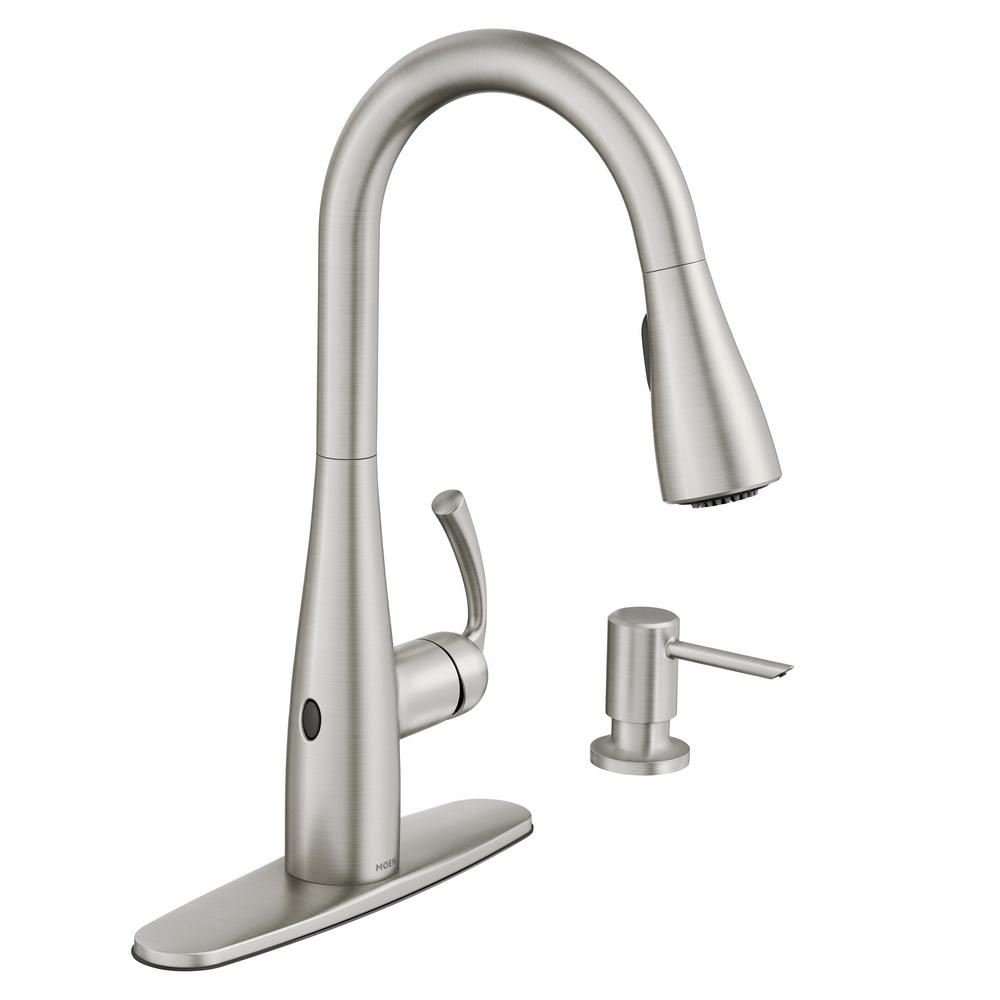 faucets kitchen ikea cabinets moen essie touchless single handle pull down sprayer faucet in spot resist stainless