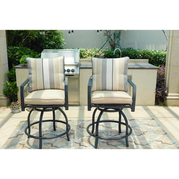 Patio Festival Swivel Metal Outdoor Bar Stool With Beige Cushion 2-pack -pf18264 - Home Depot