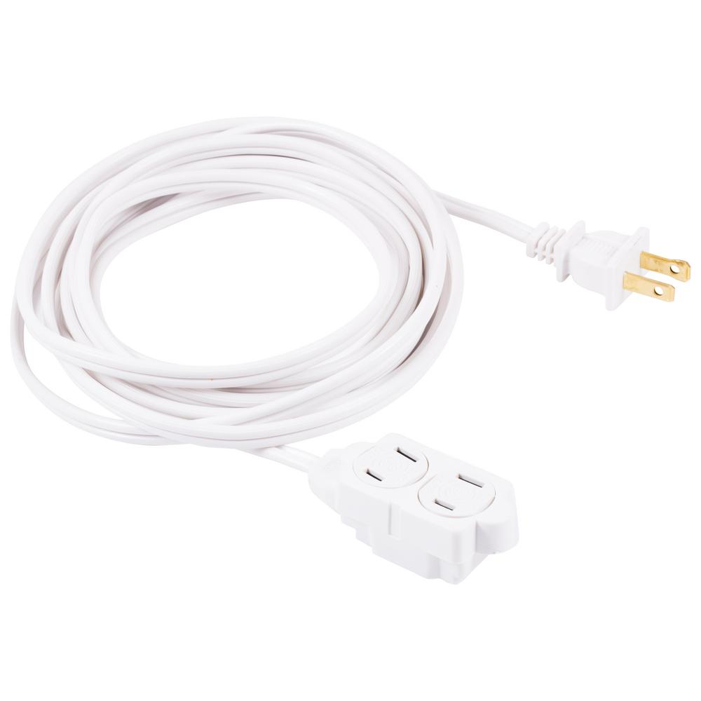 medium resolution of 2 wire 16 gauge polarized indoor extension cord white