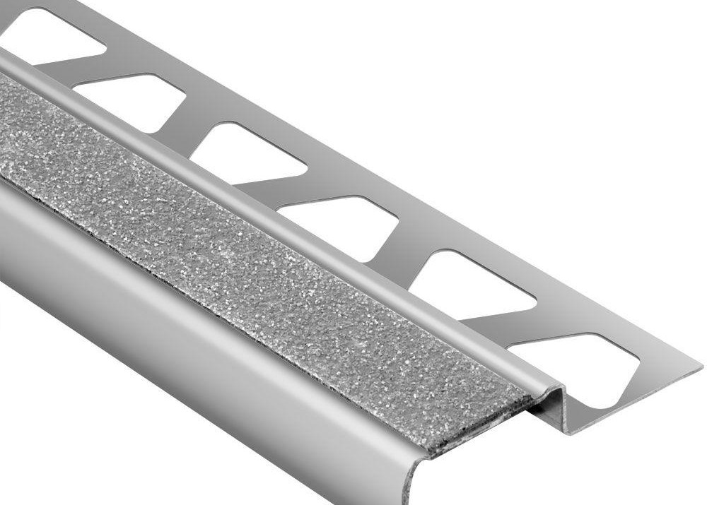 Schluter Trep G B Brushed Stainless Steel Transparent 7 16 In X 4 | Metal Stairs Home Depot | Stair Tread | Stair Stringer | Stair Parts | Handrail | Stair Railing