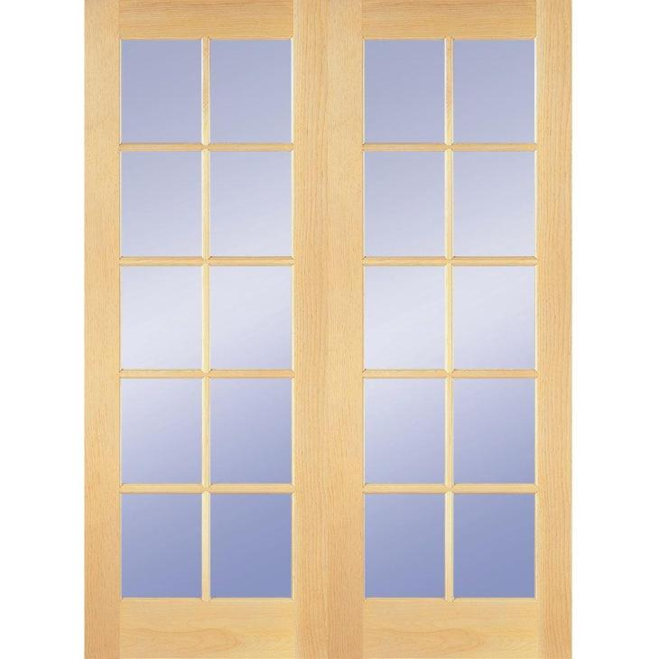 Builders Choice 48 in. x 80 in. 10-Lite Clear Wood Pine Prehung