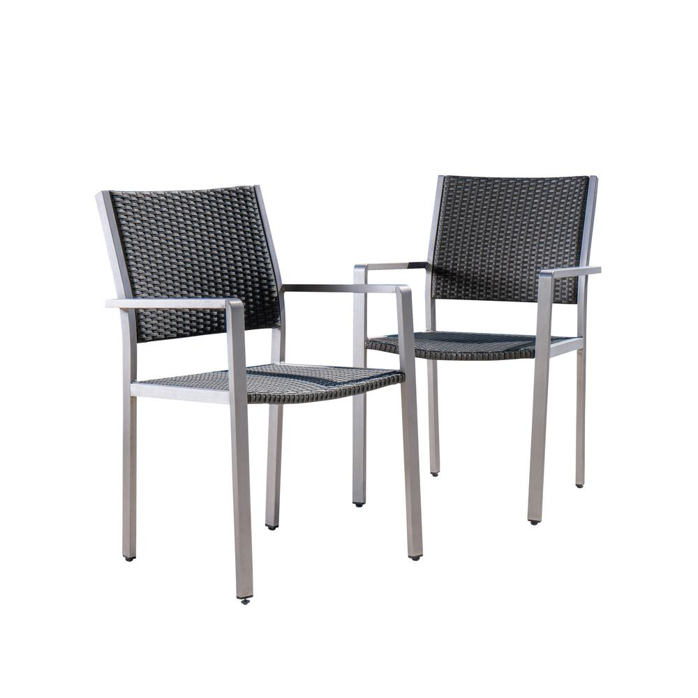 Silver Dining Chairs Noble House Athena Silver Aluminum Outdoor Dining Chair In Grey 2 Pack
